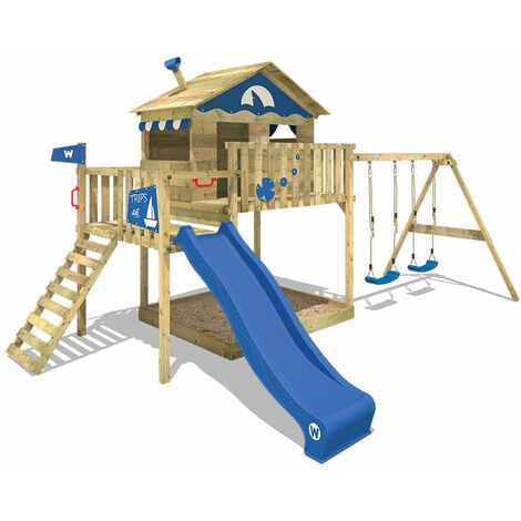 Climbing frame WICKEY Smart Coast with blue swing, slide, climbing wall