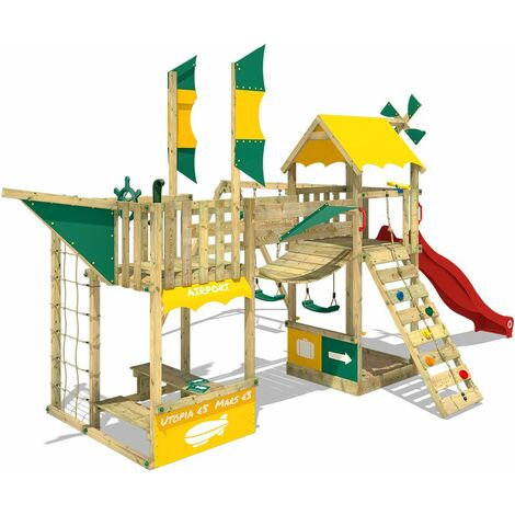 Climbing frame WICKEY Smart Wing with slide, double swing and sandpit