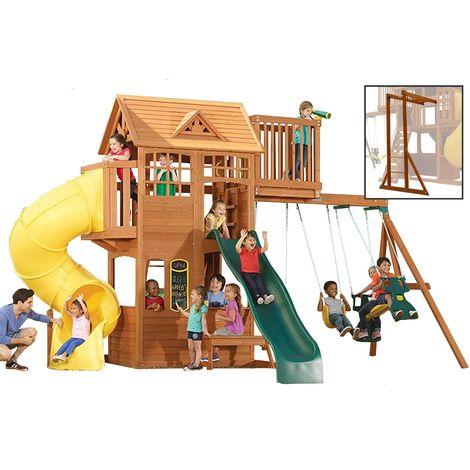Climbing Frame with 2 Swings, 2 Slides, Monkey Bars & Crows Nest (Skyline)