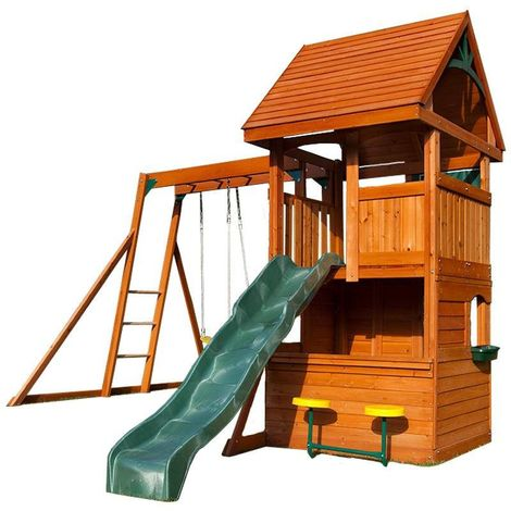 Climbing Frame with 2 Swings, Slide, Monkey Bars & Cafe Counter (Perth)
