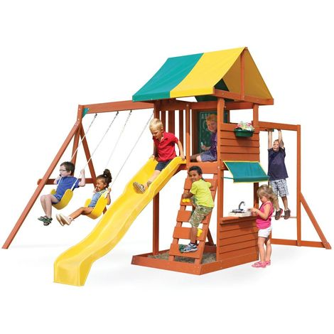 Climbing Frame with 2 Swings, Slide, Monkey Bars & Kitchen (Hazelwood)