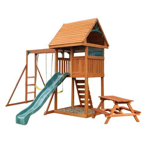 Climbing Frame with 2 Swings, Slide, Monkey Bars & PIcnic Table (Kinross)