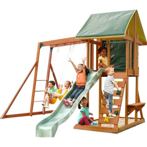 Climbing Frame with 2 Swings, Slide, Monkey Bars & Rockwall (Meadowside II)
