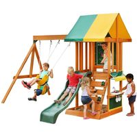 Climbing Frame with 2 Swings, Slide, Rockwall & Kitchen (Sun Bistro)