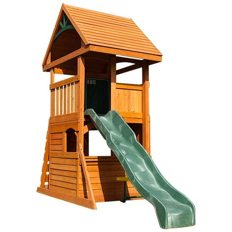 Climbing Frame with Slide, Rockwall & Playhouse (Rendle)
