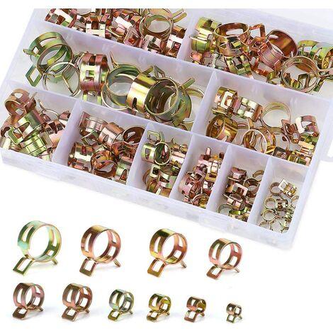 Clip à ressort tuyau collier serrage durite essence, 100 pièces Serre-joints à Tuyaux Colliers de Clip à Ressort Tuyau Serrage avec BoîTe de Rangement (6-22 mm, taille 10