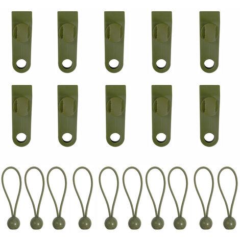 Clip de tente d\'exterieur Clip de rideau de ciel Clip coupe-vent renforce Boucle de clip de tente Clip de fixation de tente, kaki 12 clips + 12 boules de corde