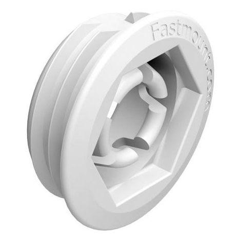Clip femelle 5kg autotaraudeur bois lp-f8 - low profile - - Matériau : Plastique - Fixation : A encastrer - Diamètre perçage : 25 mm - Décor : Blanc - Charge : 5 kg - FASTMOUNT