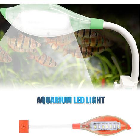Clip luz del acuario pequeno de luz LED de la forma de hoja Fish Tank USB luz LED para peces de acuario tanque azul blanca del color de iluminacion, Naranja