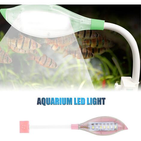 Clip luz del acuario pequeno de luz LED de la forma de hoja Fish Tank USB luz LED para peces de acuario tanque azul blanca del color de iluminacion, Rosa