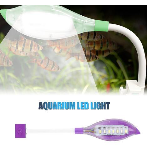 Clip luz del acuario pequeno de luz LED de la forma de hoja Fish Tank USB luz LED para peces de acuario tanque blanco azul del color de iluminacion, purpura