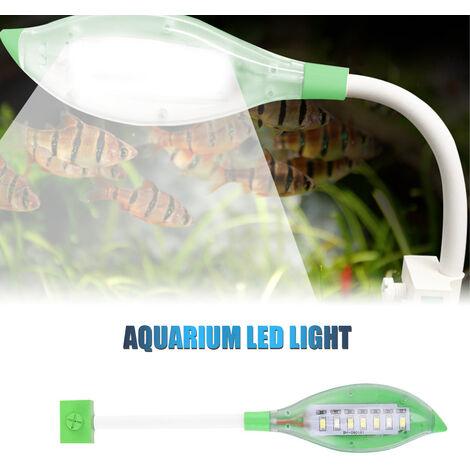 Clip luz del acuario pequeno de luz LED de la forma de hoja Fish Tank USB luz LED para peces de acuario tanque blanco azul del color de iluminacion, verde