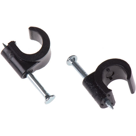 Clip serre-câbles TV, diamètre 8mm PE Noir, 9.9 x 26.6 x 12.9mm