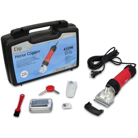 Clipex - Electric Horse Clipper 450W, 220V, Easy to Use, Anti-heating System, Long Cable 5,5m, Lightweight 1,3kg, Ideal For Cutting and Trimming Horse and Mule Fur, Carrying Case