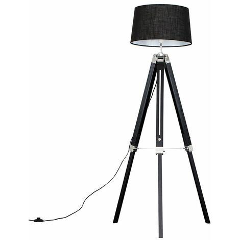 Clipper Black Wood Tripod Floor Lamp + LED Bulb - Dark Grey - Black