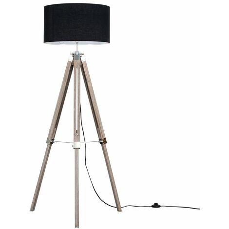 Clipper Distressed Tripod Floor Lamp - Beige - Brown