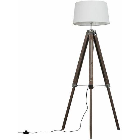 Clipper Distressed Wood Tripod Floor Lamp - White
