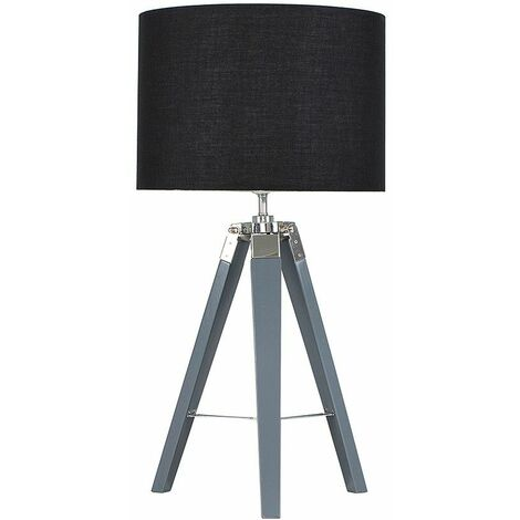 Clipper Grey Tripod Table Lamp + LED Bulb - Black Velvet - Grey
