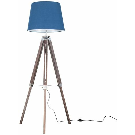 Clipper Tripod Floor Lamp in Wood & Chrome with Aspen Shade + 6W LED GLS Bulb - Grey - Brown