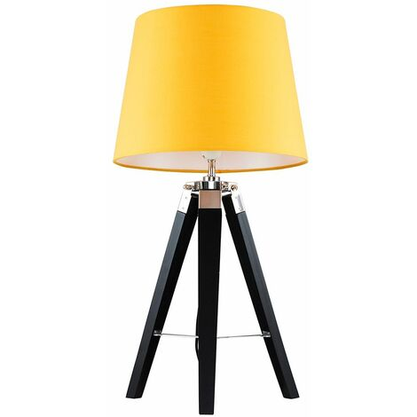 Clipper Tripod Table Lamp in Black - Mustard - Black