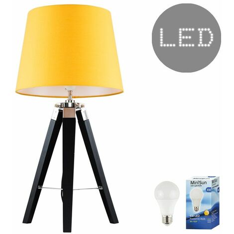 Clipper Tripod Table Lamp in Black with LED Bulb - White - Black