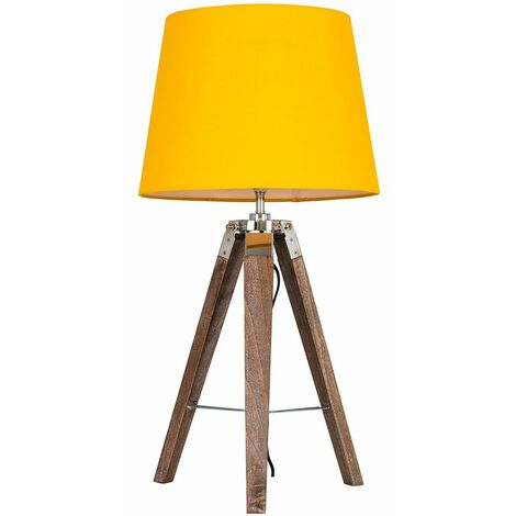 Clipper Tripod Table Lamp in Light Wood with LED Bulb - Grey - Brown