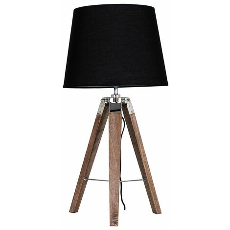 Clipper Tripod Table Lamp in Light Wood with LED Bulb - Mustard - Brown