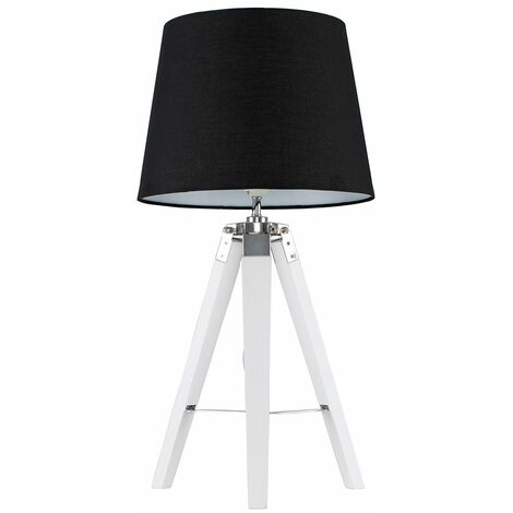 Clipper Tripod Table Lamp In White With Aspen Shade + 6W LED GLS Bulb - Grey - White