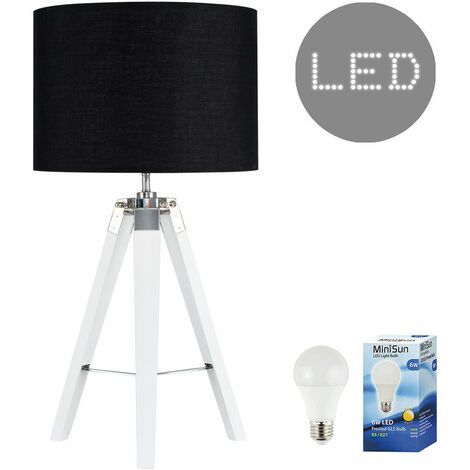 Clipper Tripod Table Lamp in White with Rolla Shade + 6W LED GLS Bulb - Beige - White