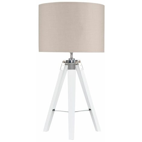 Clipper Tripod Table Lamp in White with Rolla Shade - Beige - White