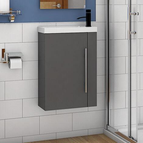"main image of ""Cloakroom Bathroom Sink Vanity Unit Wall Hung Compact White Basin Door Unit 440"""