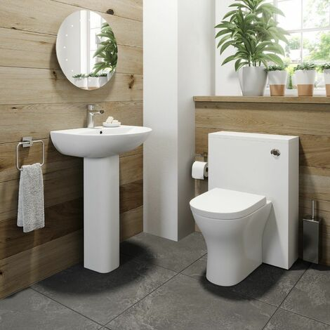 Cloakroom Bathroom Suite White Back to Wall Toilet WC Basin Sink 1TH Pedestal