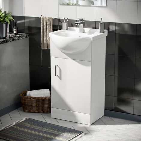 Cloakroom Floor Standing Basin Sink Vanity Unit and Aldo Modern Cloakroom Single Lever Basin Mono Tap White
