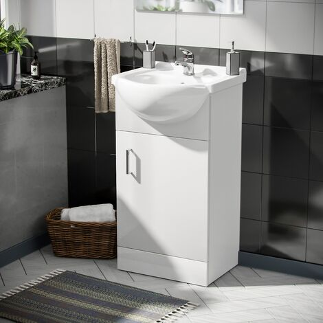 Cloakroom Floor Standing Basin Sink Vanity Unit and Banox Single Lever Mono Sink Tap White