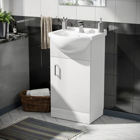 Cloakroom Floor Standing Basin Sink Vanity Unit and Ozone Waterfall Basin Mono Mixer Tap White