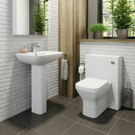 """main image of """"Cloakroom Suite Back to Wall WC Toilet 1TH Basin Sink Pedestal Bathroom White"""""""