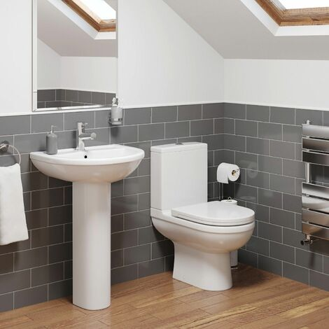 Cloakroom Suite Close Coupled WC Toilet 1TH Basin Sink Pedestal Bathroom White