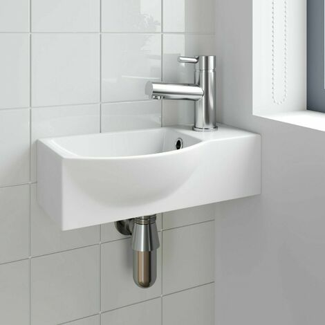 Cloakroom Wall Hung Basin Corner Hand Wash Sink 1 Tap Hole White Bathroom Modern