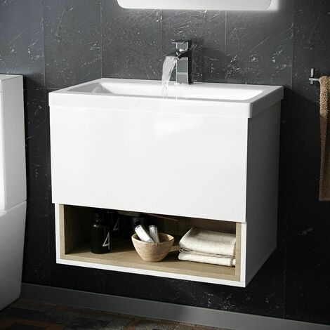 Cloakroom Wall Hung Basin Vanity Unit With Single Drawer Storage Cabinet