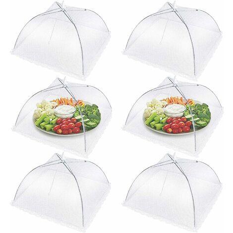 Cloche Alimentaire Pliable, Cloche Anti-Insectes, Aliments Tente, Anti-mouche Couvercle de Nourriture en Maille, Aliments Pliant Tente Parapluie (Blanc, 6)