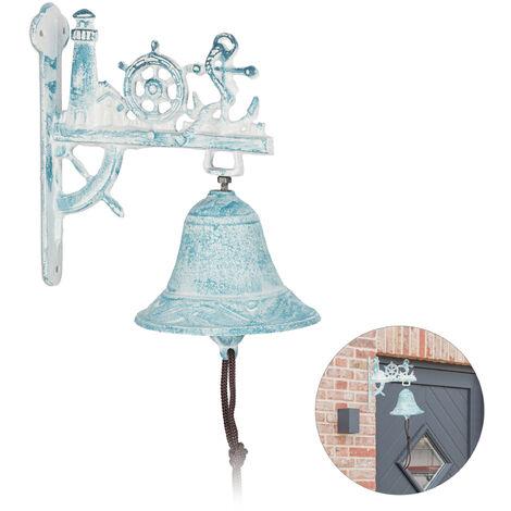 Cloche de porte maritime, phare, barre, ancre, avec corde, accessoire, rustique, fonte de fer, blanc/bleu