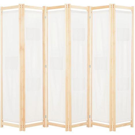 Cloison de separation 6 panneaux Creme 240 x 170 x 4 cm Tissu