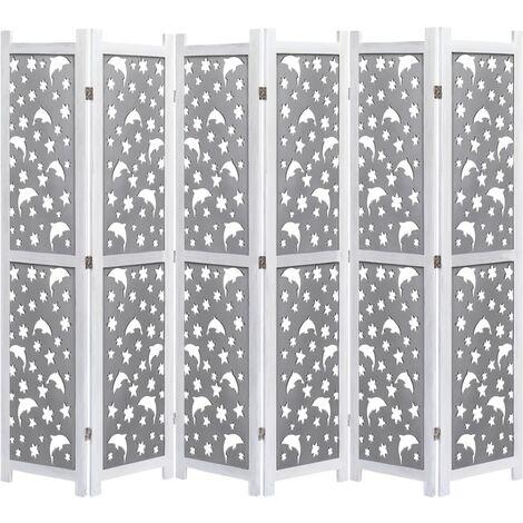 Cloison de séparation 6 panneaux Gris 210x165 cm Bois solide