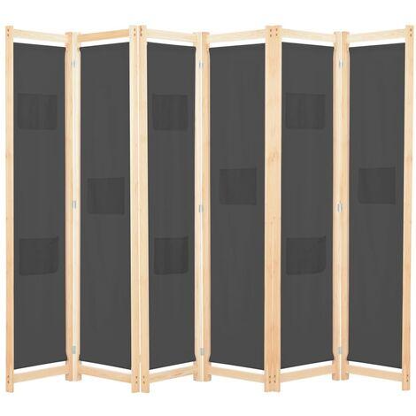Cloison de séparation 6 panneaux Gris 240 x 170 x 4 cm Tissu