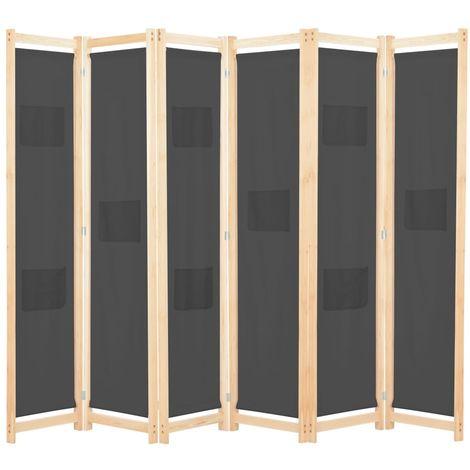 Cloison de separation 6 panneaux Gris 240 x 170 x 4 cm Tissu
