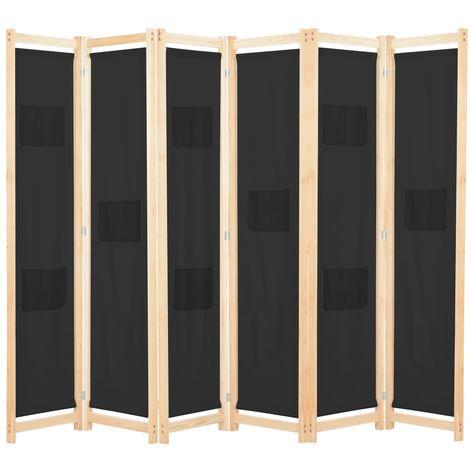 Cloison de separation 6 panneaux Noir 240 x 170 x 4 cm Tissu