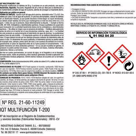 Cloro en tabletas de 20 gr para mini piscinas de 5 funciones de 1kg