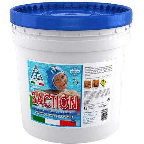 Cloro multifuzione in pastiglie per piscine kg 5 3action for Cloro per piscine
