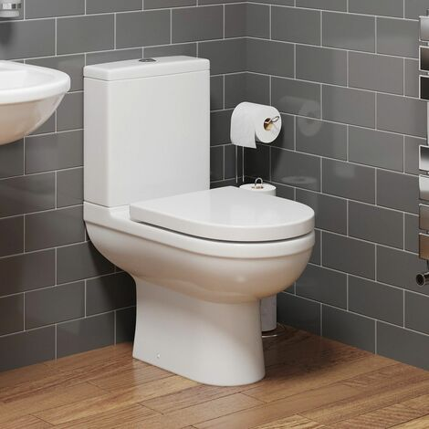 Close Coupled Bathroom Toilet Space Saving 360mm Pan Soft Close Seat Dual Flush