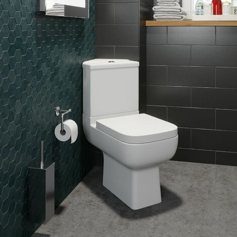 Close Coupled Corner Toilet Bathroom WC Modern White Soft Close Space Saving
